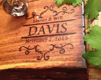 Personalized cutting board hand woodburned lifetime piece
