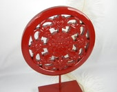 Red Home Decor Accent - Floral Medallion Pedestal Art - Wood and Metal Refinished in Deep Red