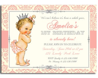 Vintage Baby Invitation Printable or Printed With FREE SHIPPING - Sweet Princess Collection