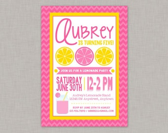 Pink Lemonade Birthday Invitation, Lemonade Birthday Party, Printable