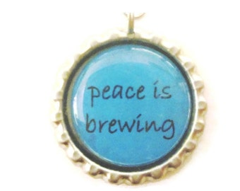 "Tea Infuser with Bottlecap Charm - 2"" Mesh Tea Ball - peace is brewing"
