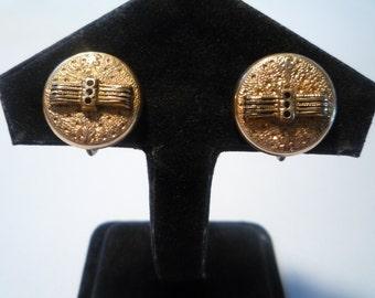 Victorian Gold Filled Enamel Button Earrings