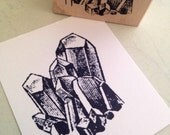Rock Crystals Rubber Stamp  Handmade by 100 Proof Press 3014