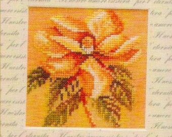Cross Stitch Kit Magnolia Classic 4  x 4 inches, Floral Cross Stitch, Lanarte Cross Stitch Kit