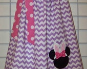 Disney Easter Pillowcase Dress, Easter Bunny Minnie Mouse Dress, Easter Dress, Lavender Chevron and Pink and White Polka Dots Dress