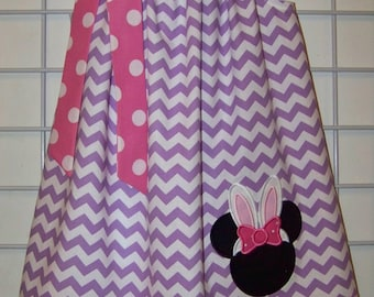 Disney Easter Pillowcase Dress, Easter Bunny Minnie Mouse Dress, Easter Dress, Lavender Chevron and Pink and White Polka Dots Dress, 6 mo-14