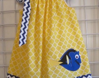 Dory Dress, Finding Nemo Dress, Pillowcase Dress, Royal Blue Chevron, Yellow Quatrefoil, Fish Dress, Disney Movie Inspired, Size 6 mo to 14