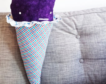 Pillow GIANT Ice Cream Cone - Purple, Plaid and Shark Ruffle - Sweet Home Decor