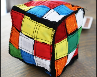 SALE! Plush PUZZLE CUBE - Rubik's Cube Fabric Toy - With Hangtag Ribbon