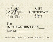 Allison Barnes Collection Gift Certificate, Gift Card, Christmas, Custom Order