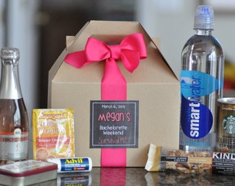 Bachelorette Party Survival Box {Bridesmaid gifts, Hangover kit, Bachelorette Weekend} Set of 11