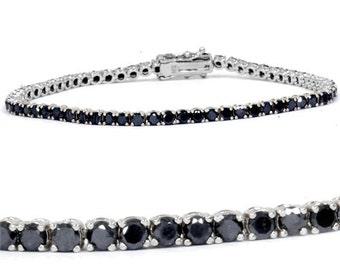 "3.00CT Black Diamond Tennis Bracelet 14K White Gold 7"""