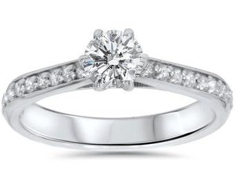 Diamond .60CT Engagement Ring 14K White Gold
