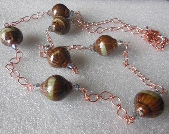 Ceramic on Copper chain necklace 738