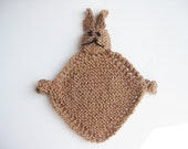 Organic cotton brown bunny toy hand knitted