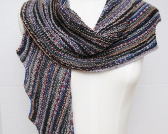 Spiral staircase wool scarf black multi hand knitted