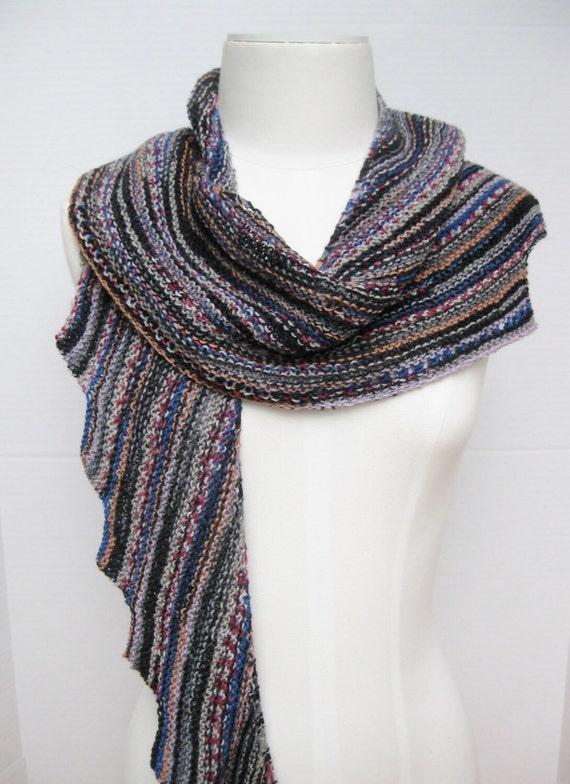 Knit Spiral Scarf Pattern : Spiral staircase wool scarf black multi hand knitted