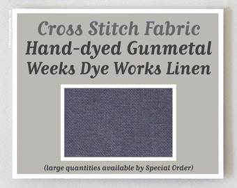 GUNMETAL Hand-dyed counted cross stitch fabric : 35 ct. countd overdyed 100% linen Weeks Dye Works WDW gray