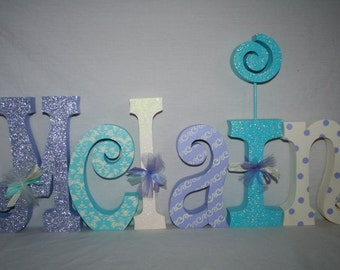 Girl wood letters 6 letter set Lilac and turquoise decor Wooden letters Baby name letters Custom nursery name Wooden letters for girl