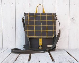 Gray Mustard plaid Backpack, UNISEX 2in1 rucksack, Festival Knapsack, Crossbody bag, husband laptop carrier, macbook messenger tote
