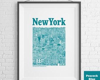 New York City Illustrated Screenprint (Peacock Blue)