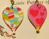 Reversible Hot Air Balloon earrings! Stripes and Hearts!