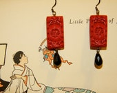 Carved Asian Cinnabar red and black swarovski dangly earrings!