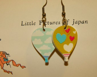 Reversible Hot Air Balloon earrings! Clouds and Hearts