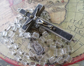 large crystal rosary - reliquary crucifix- cross with secret compartment - Germany