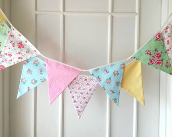 Sweet Shabby Chic Fabric Banners, Bunting, Garland, Wedding Bunting, Pennants, Flags, Pink, Yellow, Green, Blue - 3 yards