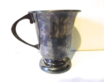 English Antique Silver Plated Baby Cup with Handle Circa 1900s