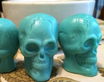 "2"" Vegan Skull Guest Soap Tiffany Blue Set of 3"