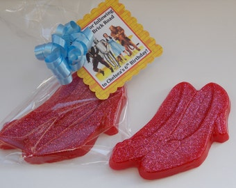 10 RUBY SLIPPERS Soap Favors {With Tags & Ribbons} - Wizard Of Oz Birthday, Ruby Slippers Soap Party Favors, Red High Heel Shoes Favors