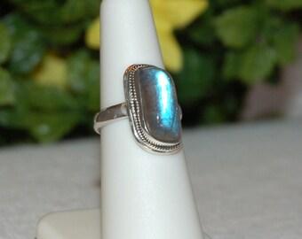 Labradorite Ring, Size 6, Bright Blue Flash, Sterling Silver, Spectrolite, Natural Labradorite, Blue Labradorite