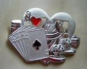 Gambling Poker Themed Brooch//Queen of Hearts // AJCSigned Vintage jewelry