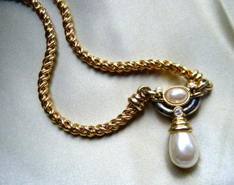 Vintage Jesara Necklace , Gold and Silver tone Metal with Pearl Dangle and Rhinestone Accents
