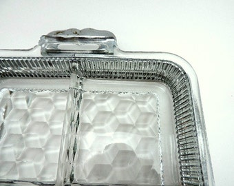Relish Dish - Relish Tray Metal Holder - Sectioned Glass Dish