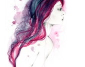 Watercolor Painting Purple Watercolor Painting Abstract Purple Hair Fashion Illustration Watercolour Painting Fashion Art Print Girl