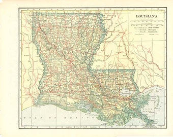 LOUISIANA  Vintage Map - Nelson's Perpetual Loose-Leaf Encyclopedia Page