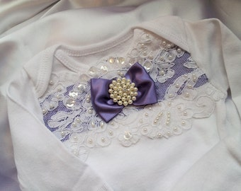 Newborn Girls One piece Bodysuit Purple Lace Baby Girl Take me home outfit