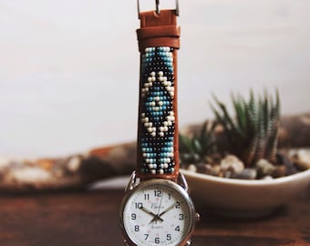 BWLW-03, Native American inspired genuine leather hand-beaded watch