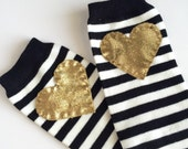 Striped Heart Baby Leg Warmers: Black and White Stripes with gold heart applique