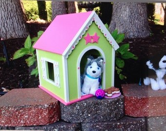 AG doll dog house for 18 inch American girl pets: pink green whimsy