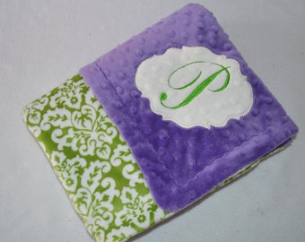 Sample Sale - Minky Baby Blanket - As is - Purple and Green Damask with a P Monogram
