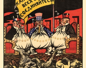 Russian Revolution Postcard / V. Deni (1893-1946).  Capitalists of the world, unite. soviet propaganda, propaganda, soviet union, ussr, 1919
