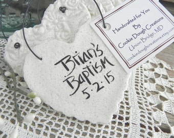 Personalized Wedding Favors / Baptism Napkin Rings Set of 10 Imprinted Heart Salt Dough Ornaments