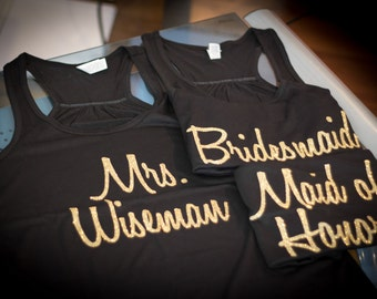 Wedding party tank top. Personalized Mrs. shirt. Bridesmaid and Maid of honor tanks. Glitter wording. Racerback tanks for Bride, Matron