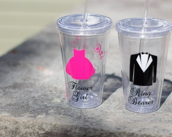 1 Plastic tumblers for Flower girl or ring bearer. Tumbler with lid and straw, wedding party glasses. Flower Girl Ring Bearer gifts BPA Free