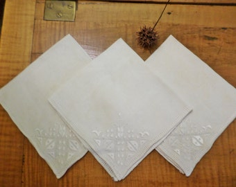 3 White on White Embroidered Linen Napkins
