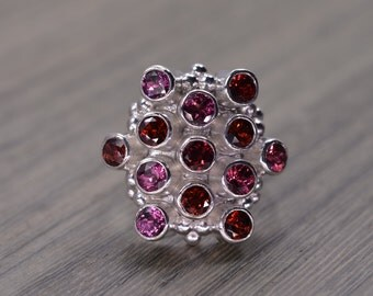 Rhodolite Garnet Ring, size 6, silver cocktail statement gemstone ring, January Birthstone - Miro Ring